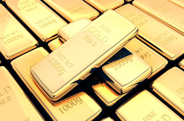 Many gold bar 3d