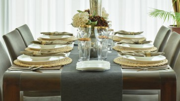 The beautiful table ware on dining table