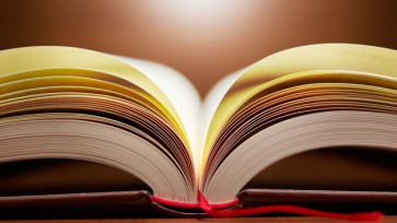 Close up of open book pages.