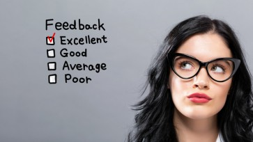 Feedback with young businesswoman