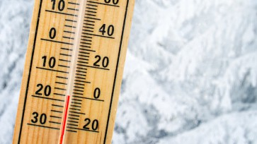 Detail of thermometer showing freezing 20 degrees Celsius sub ze