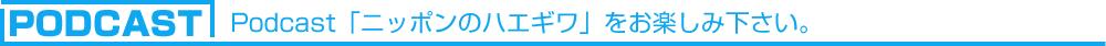 Podcast「ニッポンのハエギワ」をお楽しみ下さい。