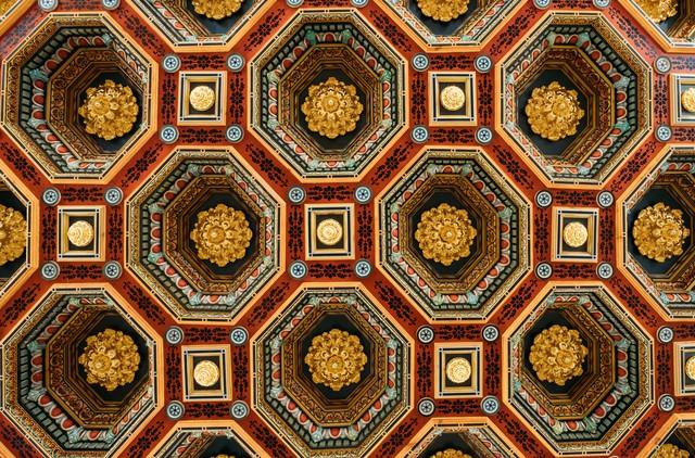 Mir, Belarus. Ceiling Roof In The Dining Room Izba In Castle Complex Museum