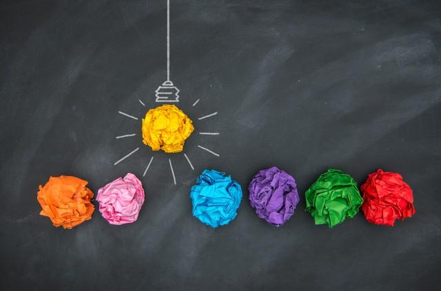 Paper Ball on Blackboard, Idea Concept