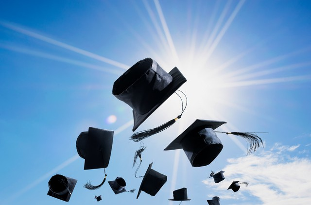 Graduation Ceremony, Graduation Caps, hat Thrown in the Air with