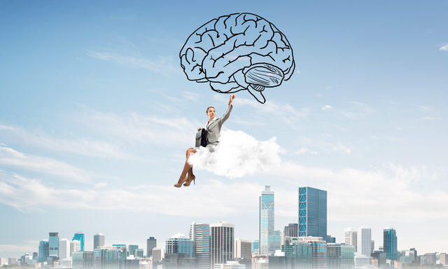 Concept of brainstorming and mind ability with attractive business lady